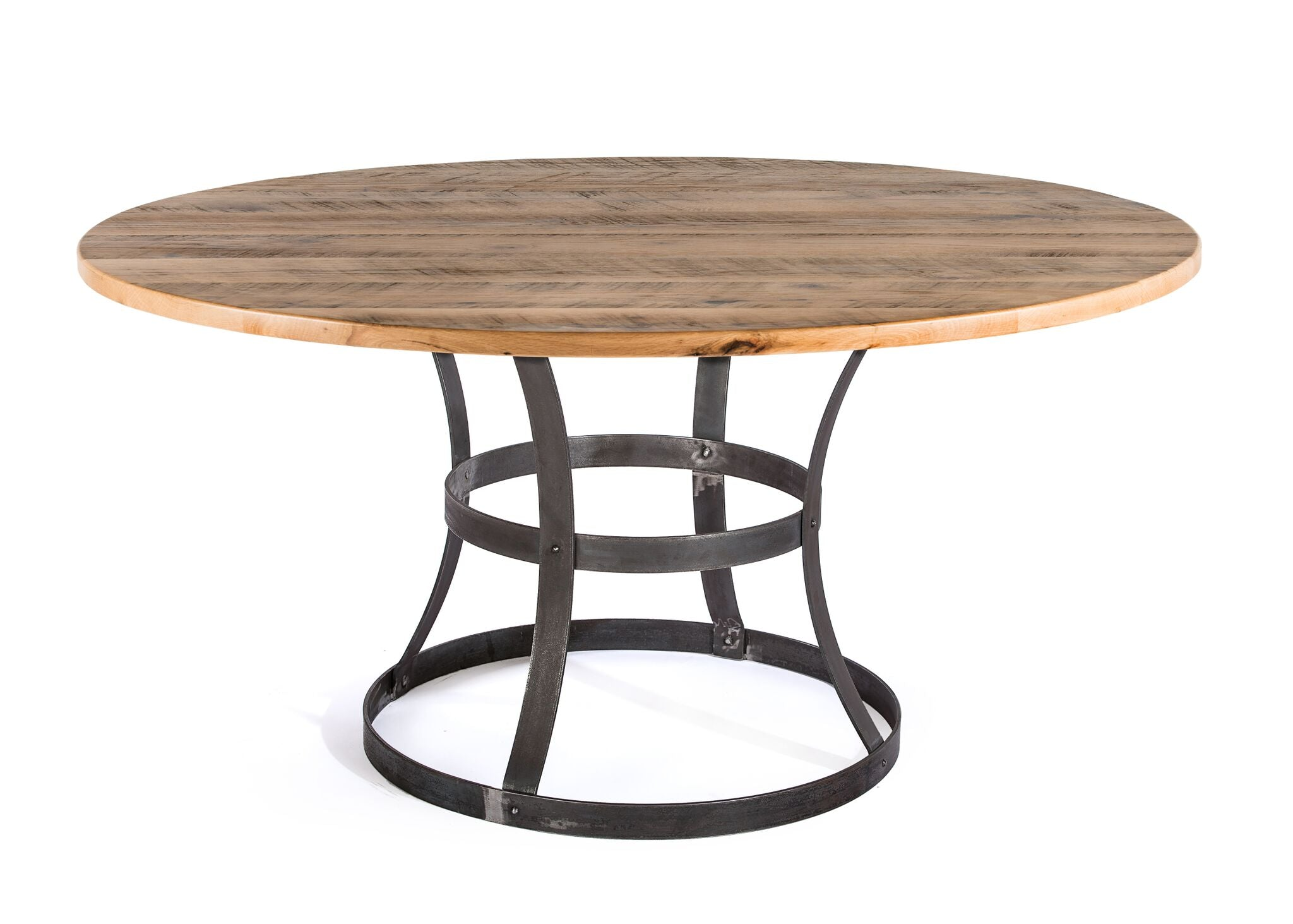 "Round Wood Tables | Madera Table | Weathered Grey on Reclaimed Oak | Natural Steel | 60""D 30""H 