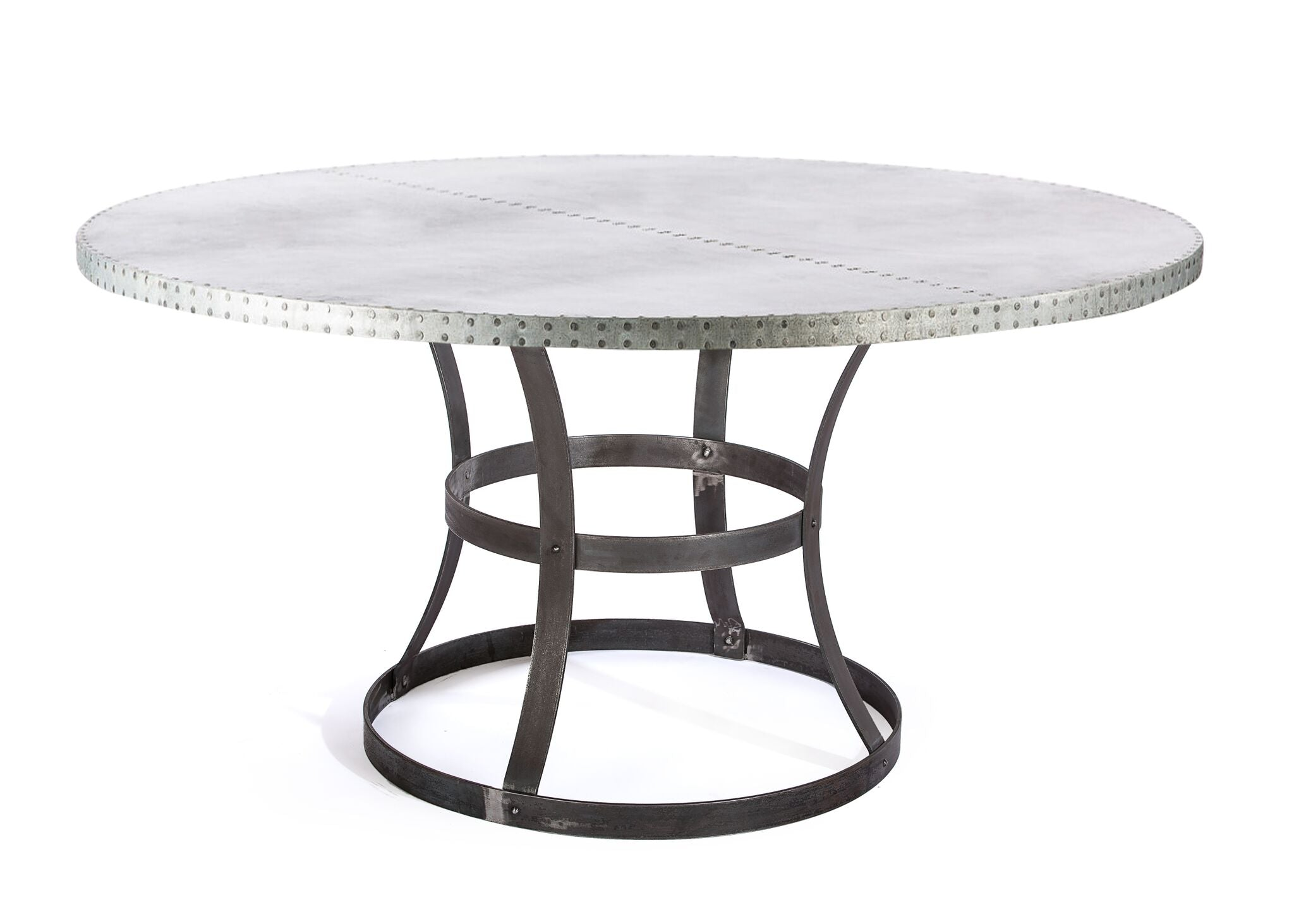 "Zinc Round Tables | Madera Table | CLASSIC | Natural Steel | CUSTOM SIZE D 48 H 30 | 1.5"" Standard 