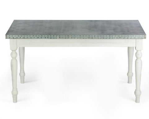 "Zinc Rectangular Table | Middleton Table | CLASSIC | Antique White on Poplar | 72""L 37""W 30""H 