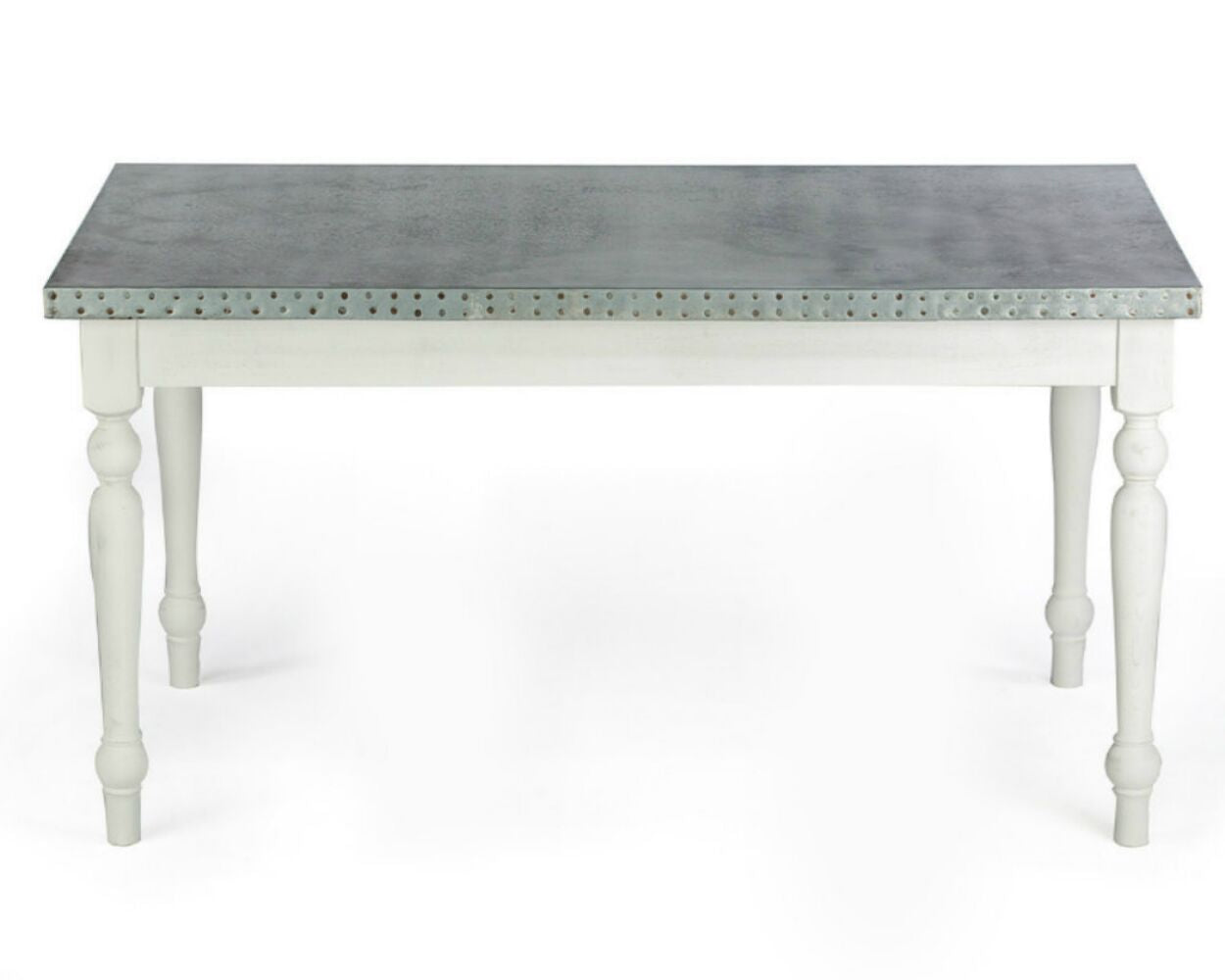 "Zinc Rectangular Table | Middleton Table | BLACKENED BRONZE | White on Poplar | 84""L 39""W 30""H 