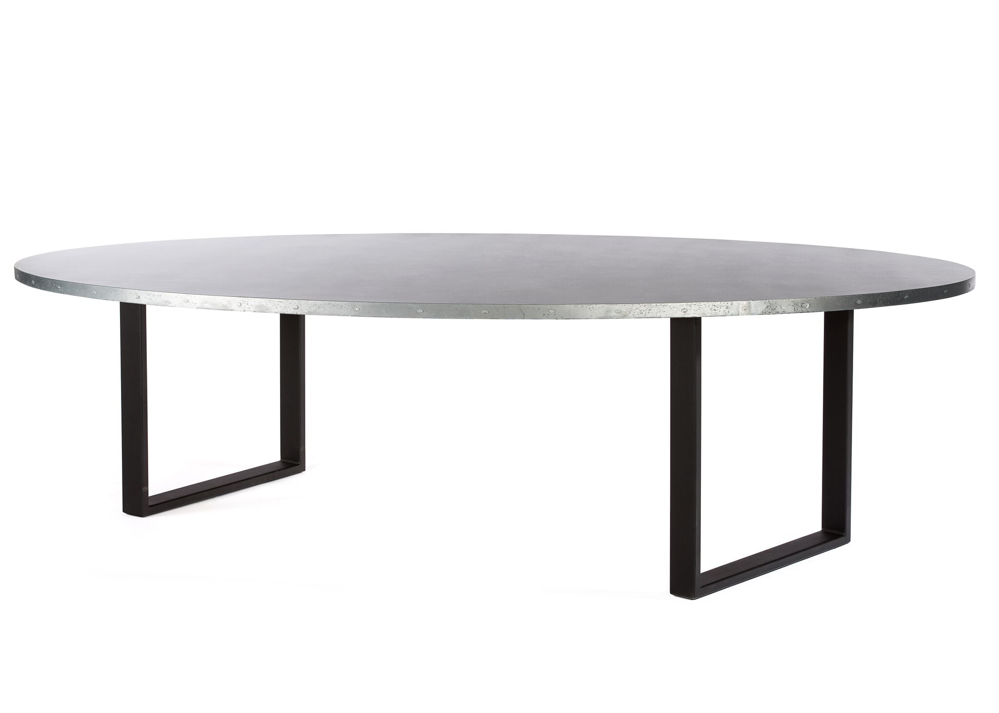 "Zinc Oval Tables | Maddox Table | CLASSIC | Black | CUSTOM SIZE 84""L 42""W 30""H 