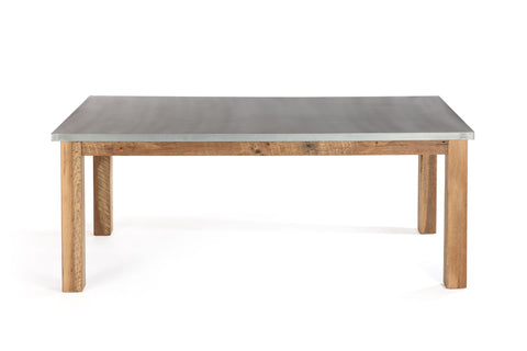 "Zinc Rectangular Table | Parsons Zinc Table | CLASSIC | White Wash on Reclaimed Oak | CUSTOM SIZE 84""L 43""W 30""H 