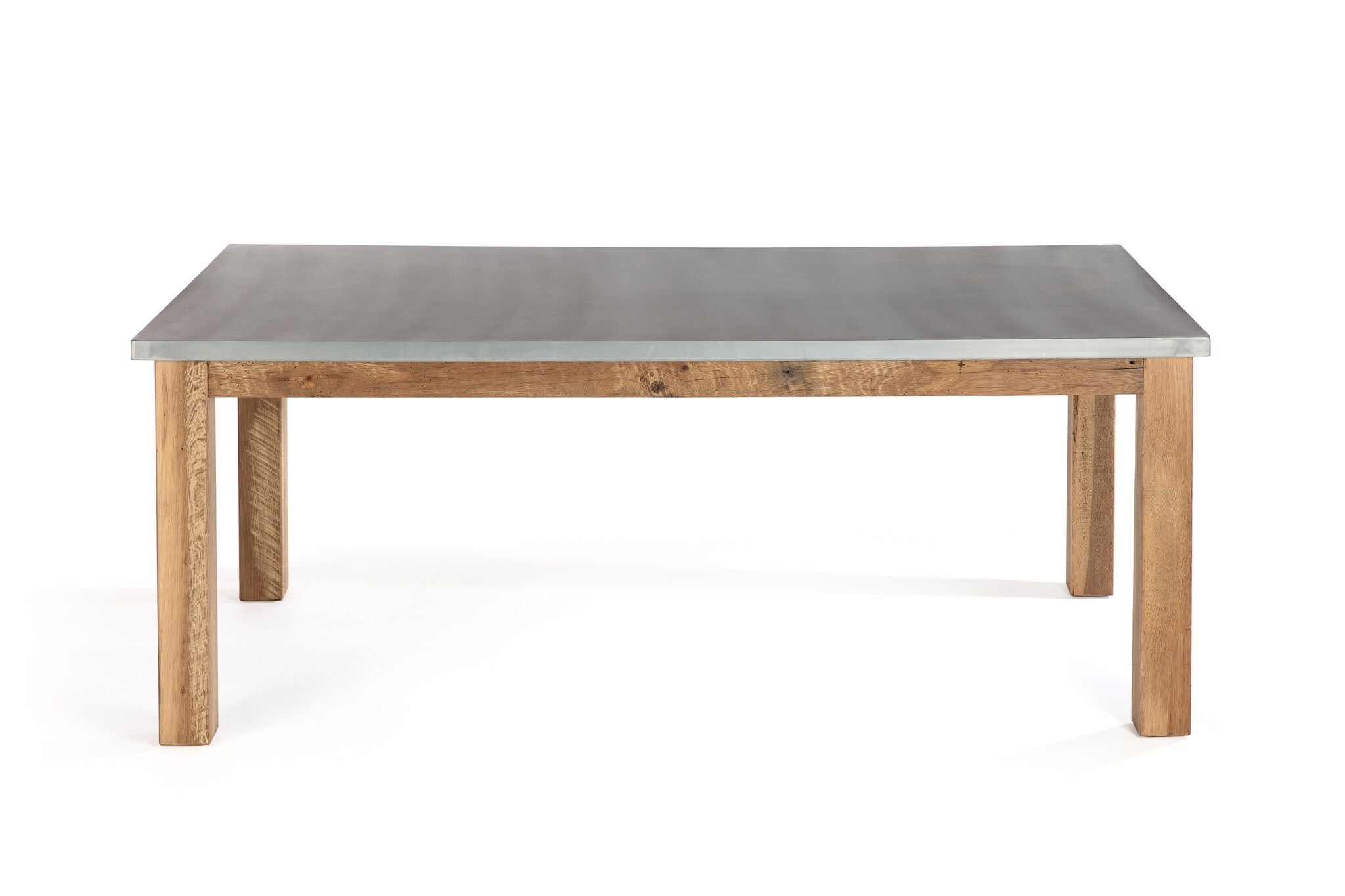 "Zinc Rectangular Table | Parsons Zinc Table | CLASSIC | Weathered Grey on Reclaimed Oak | 72""L 37""W 30""H 