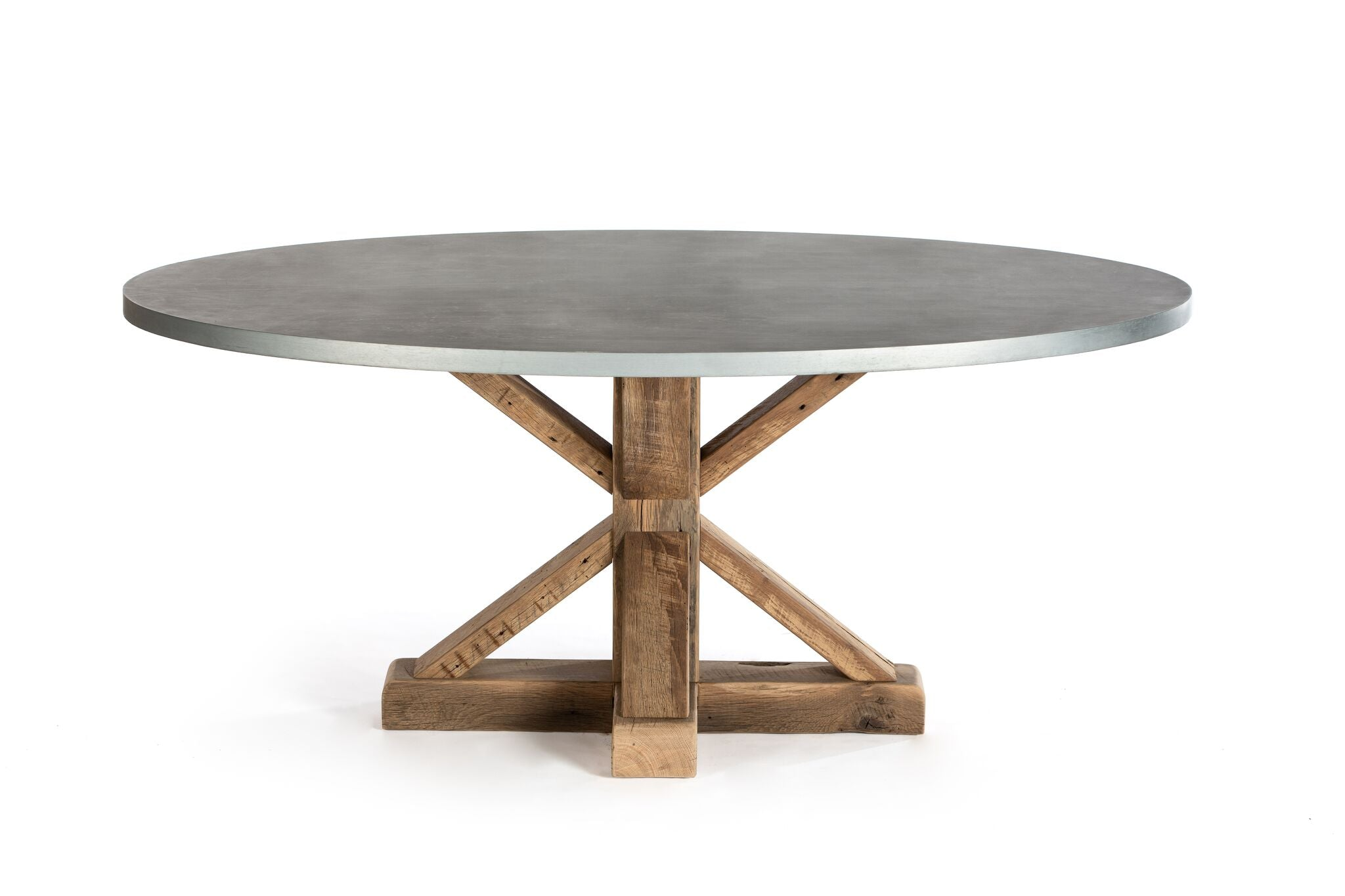 Zinc Oval Tables | Pedestal French Trestle | BLACKENED BRONZE | White Wash on Reclaimed Oak | CUSTOM SIZE L 72 W 37 H 30 | 2"