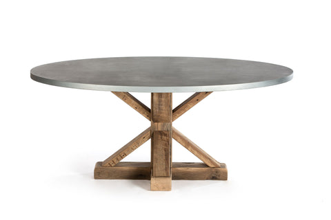 "Zinc Oval Tables | Pedestal French Trestle | CLASSIC | Dark Brown on Reclaimed Oak | CUSTOM SIZE 78""L 42""W 30""H 