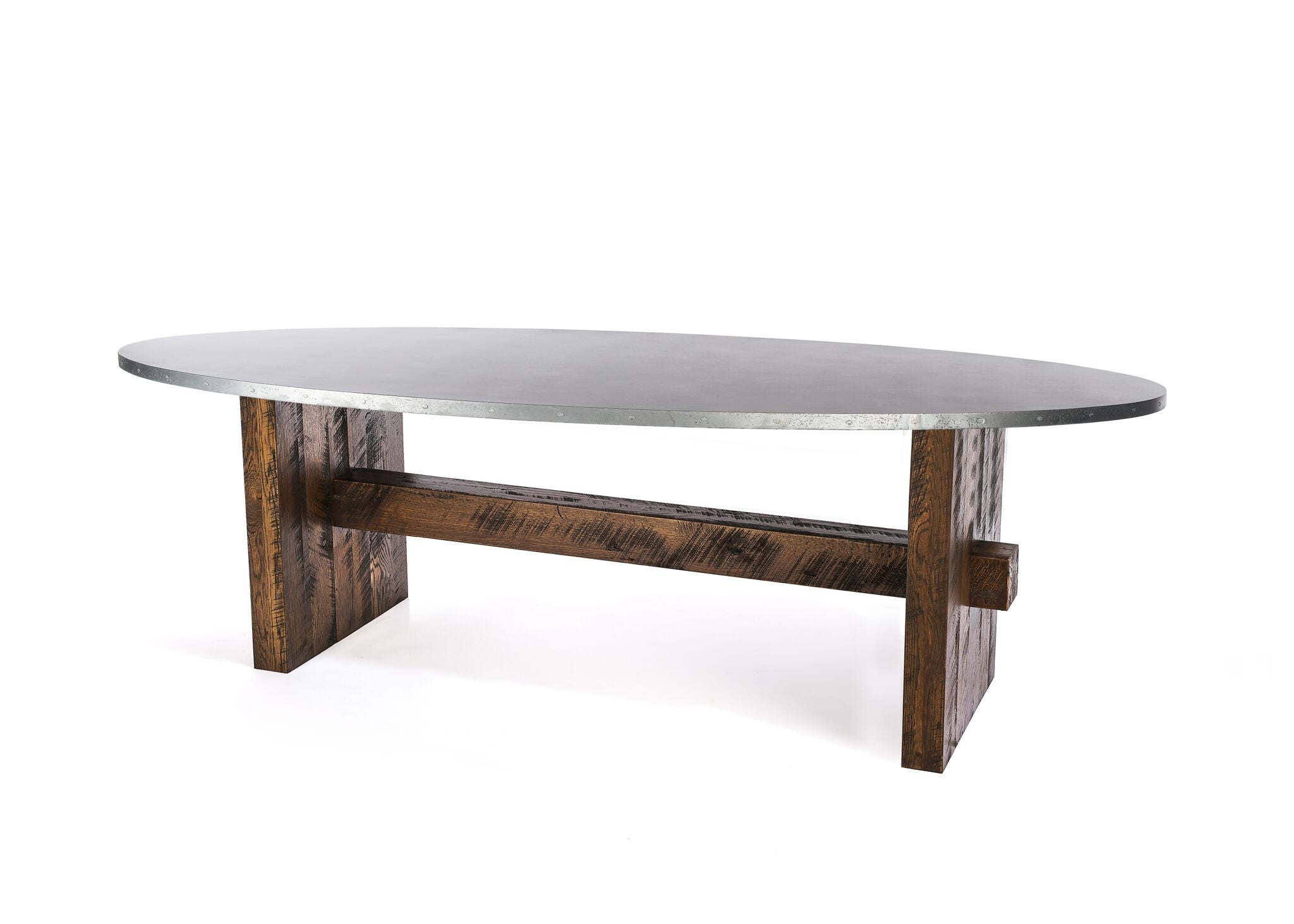 "Zinc Oval Tables | Redford Trestle Table | CLASSIC | Natural Black Walnut | CUSTOM SIZE 60""L 36""W 30""H 