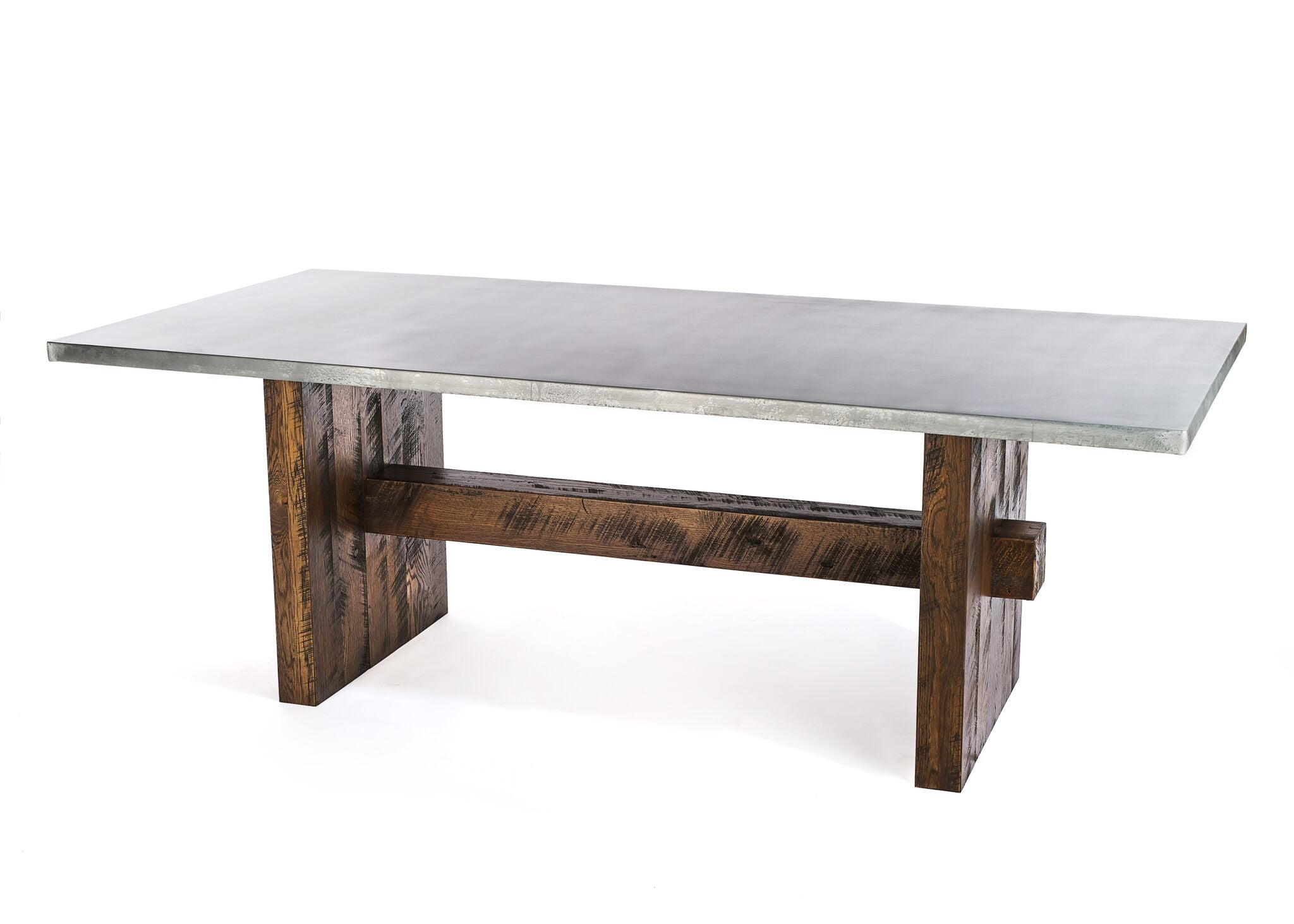 "Zinc Rectangular Table | Redford Trestle Table | BLACKENED BRONZE | White Wash on Reclaimed Oak | 96""L 39""W 30""H 
