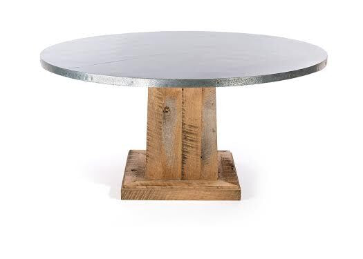 "Zinc Round Tables | Santa Fe Table | CLASSIC | Natural Reclaimed Oak | CUSTOM SIZE 42""D 30""H 
