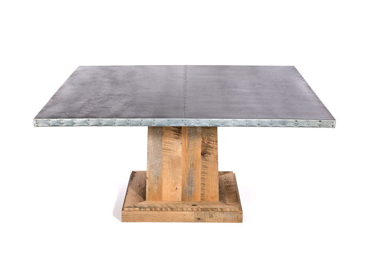 "Zinc Square Tables | Santa Fe Table | CLASSIC | Weathered Grey on Reclaimed Oak | 66""L 30""H 