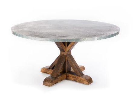 French Trestle Zinc Top Table - Round kingston-krafts-zinc-tables.