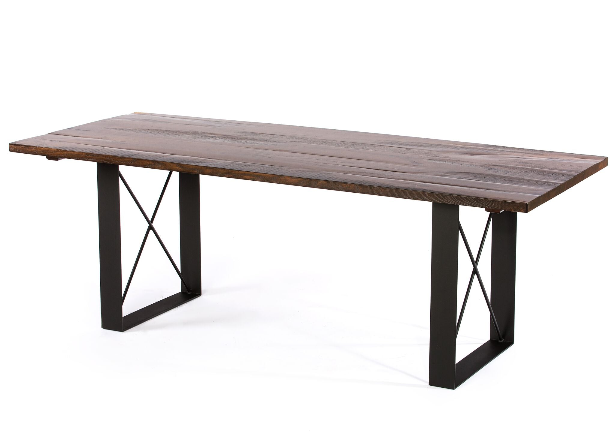 "Wood Tables | Soho Table | Natural Reclaimed Oak | Black | CUSTOM SIZE L 96 W 30 H 30 | 2"" kingston-krafts-zinc-tables."