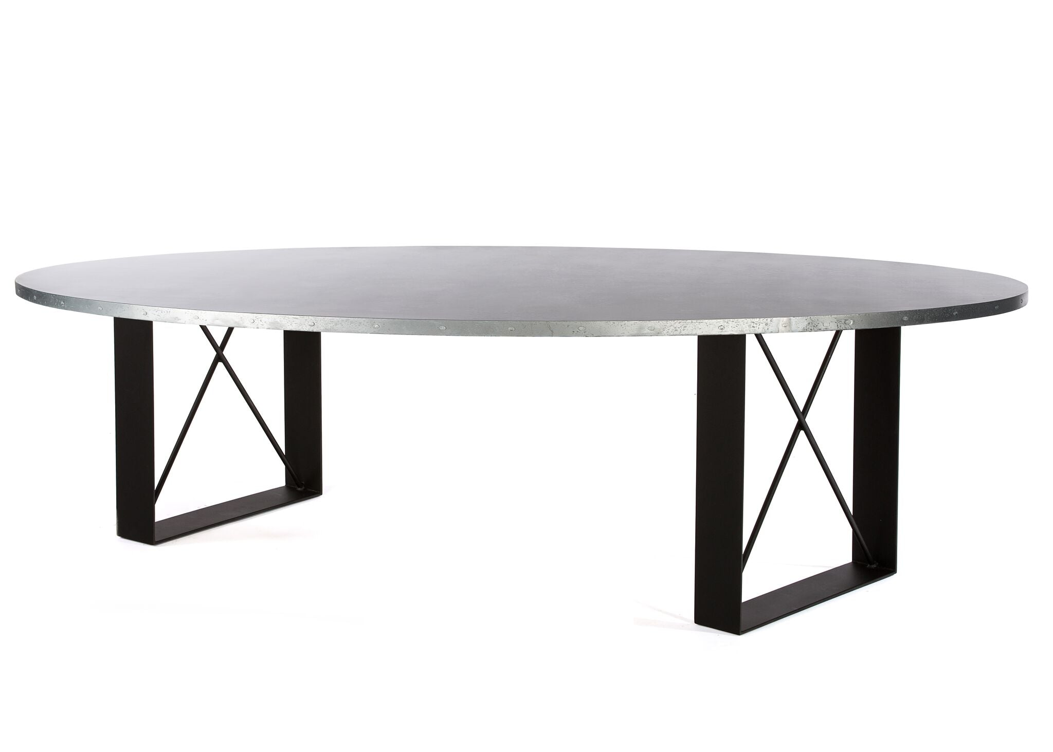 "Zinc Oval Tables | Soho Table | CLASSIC | Black on Steel | 72""L 39""W 30""H 