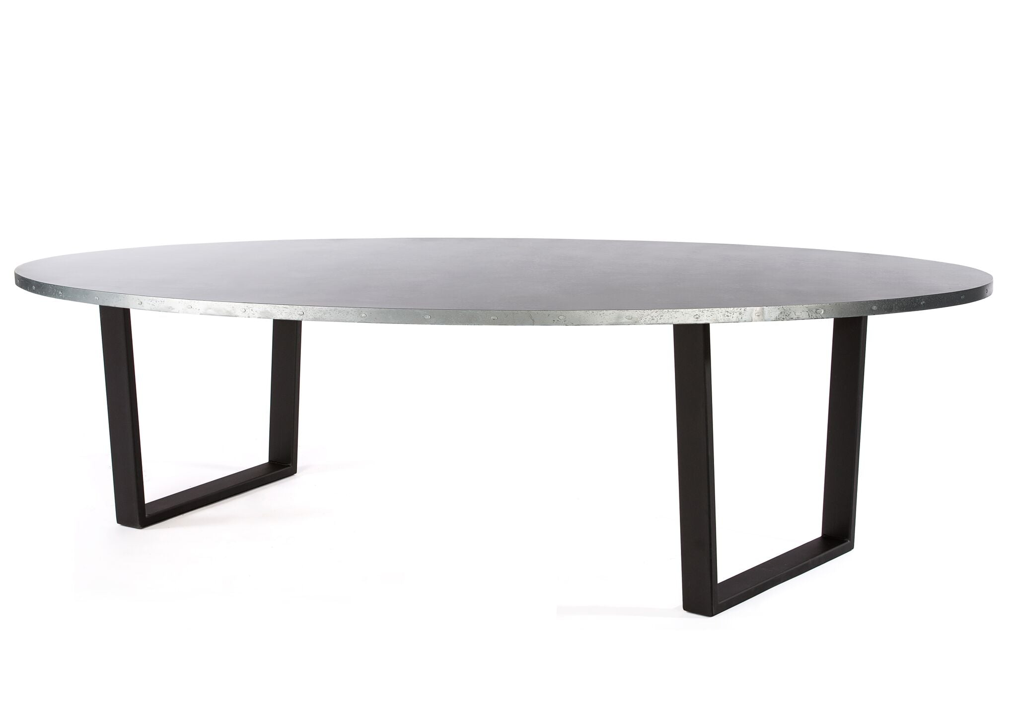 "Zinc Oval Tables | Trenton Table | CLASSIC | Natural Steel | CUSTOM SIZE 72""L 39""W 30""H 