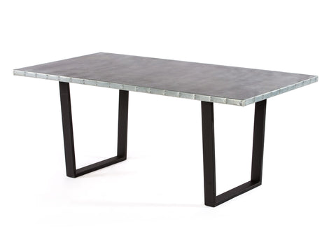 "Zinc Rectangular Table | Trenton Table | CLASSIC | Natural Steel | 84""L 39""W 30""H 