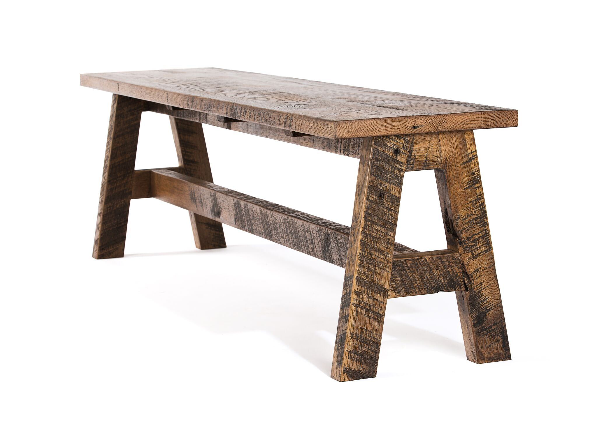 "Wood Benches | Trestle Bench | Natural Reclaimed Oak | 62"" LENGTH14"" WIDTH 18"" HEIGHT kingston-krafts-zinc-tables."