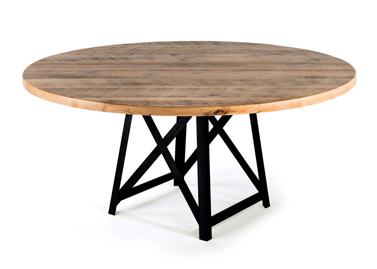 "Round Wood Tables | Uptown Table | Natural Ash | Black | Diameter 42 |  Height 30 | 1.5"" Standard kingston-krafts-zinc-tables."