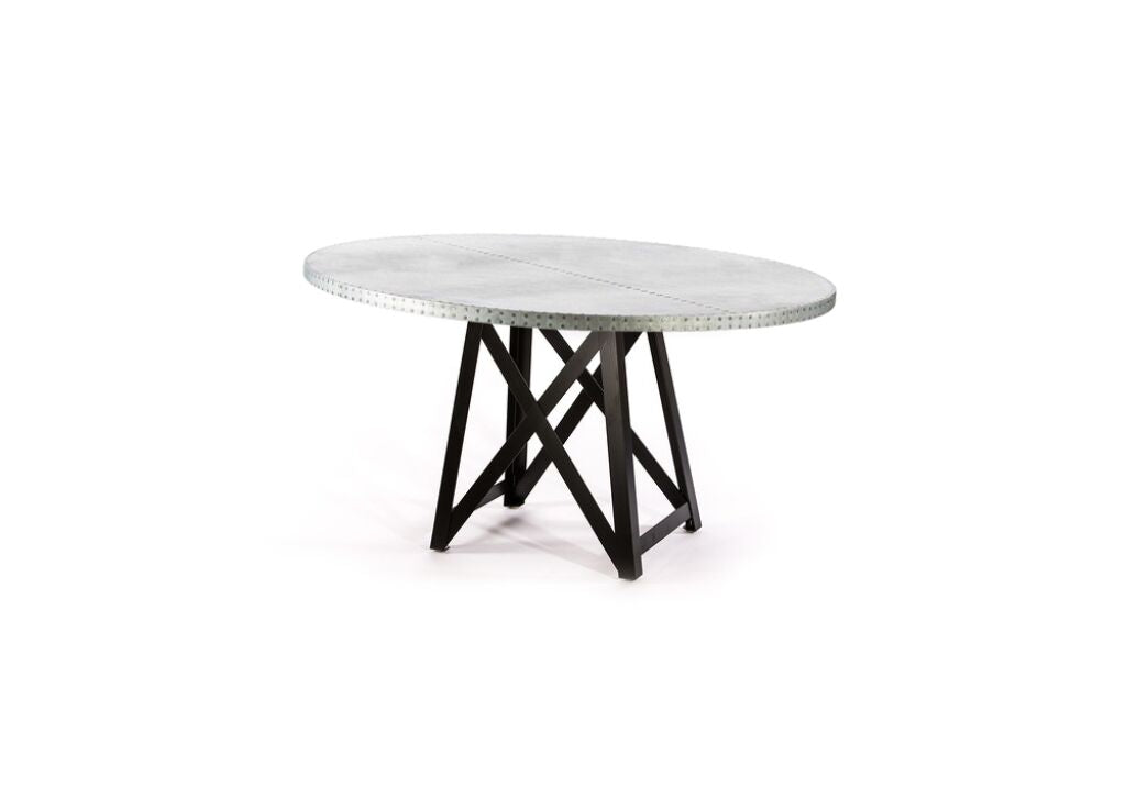 "Zinc Round Tables | Uptown Table | CLASSIC | Natural Steel | CUSTOM SIZE D 42 H 29 | 1.5"" Standard