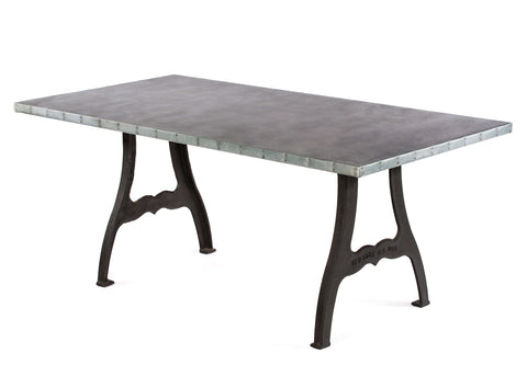 "Zinc Rectangular Table | Williamsburg Table | CLASSIC | Black on Iron | CUSTOM SIZE 72""L 39""W 30""H 