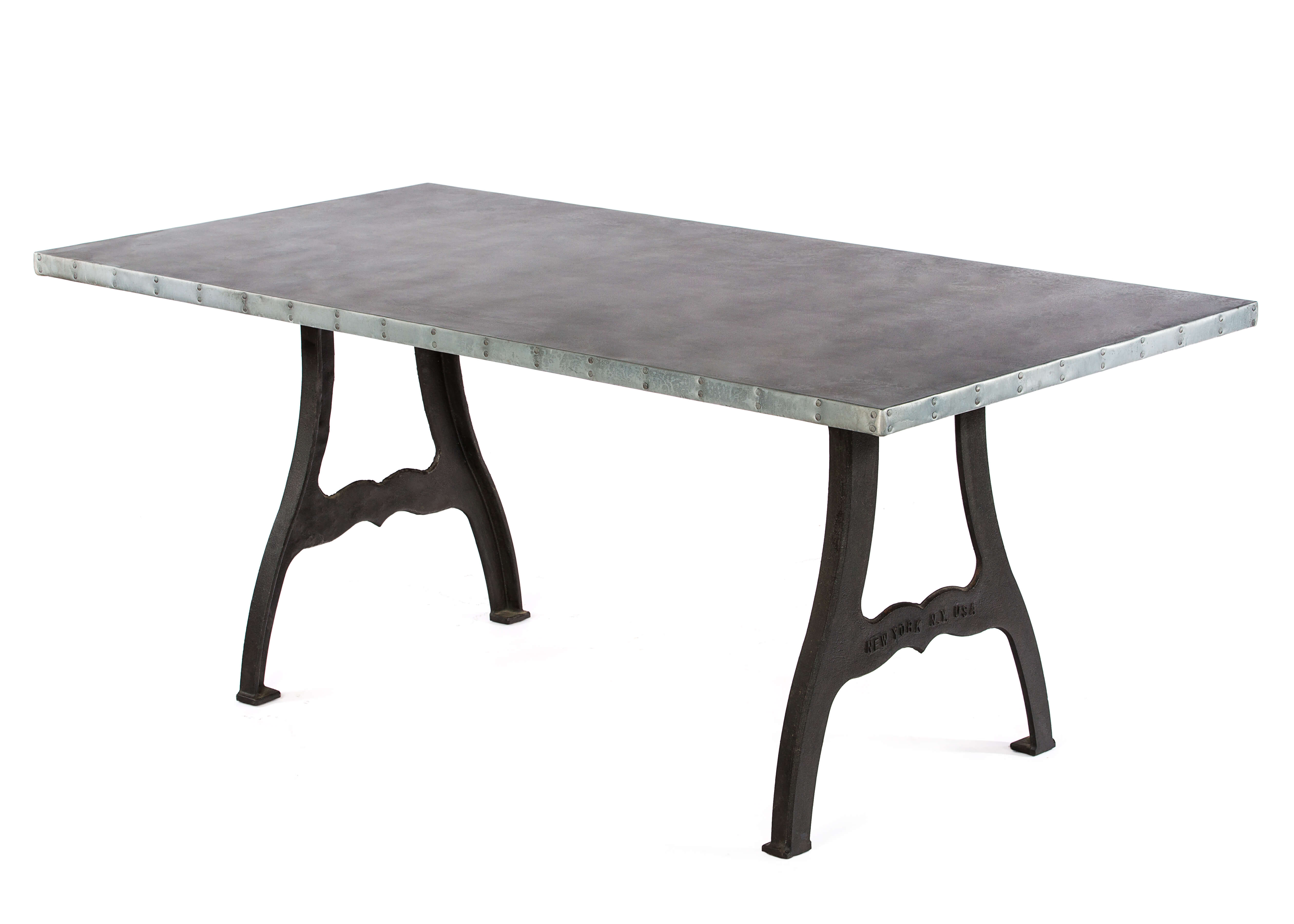 "Zinc Rectangular Table | Williamsburg Table | CLASSIC | Natural Iron | CUSTOM SIZE 66""L 37""W 30""H 