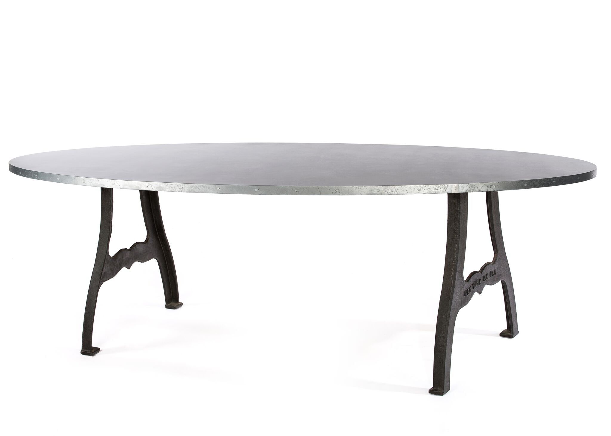 "Zinc Oval Tables | Williamsburg Table | CLASSIC | Natural Iron | CUSTOM SIZE 60""L 37""W 30""H 