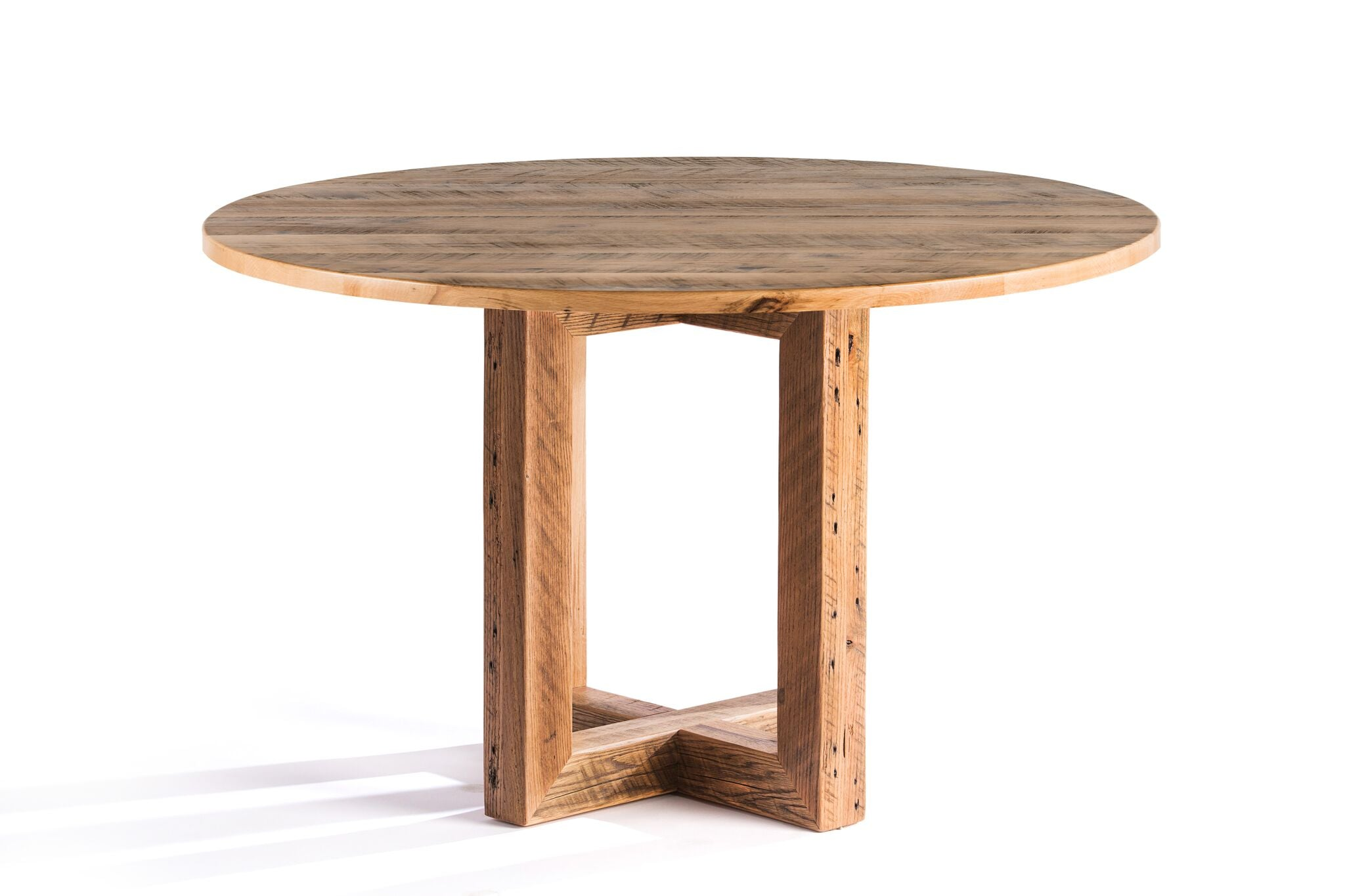"Round Wood Tables | Winston Table | Natural Ash | Natural Reclaimed Oak | Diameter 42 |  Height 30 | 1.5"" Standard kingston-krafts-zinc-tables."