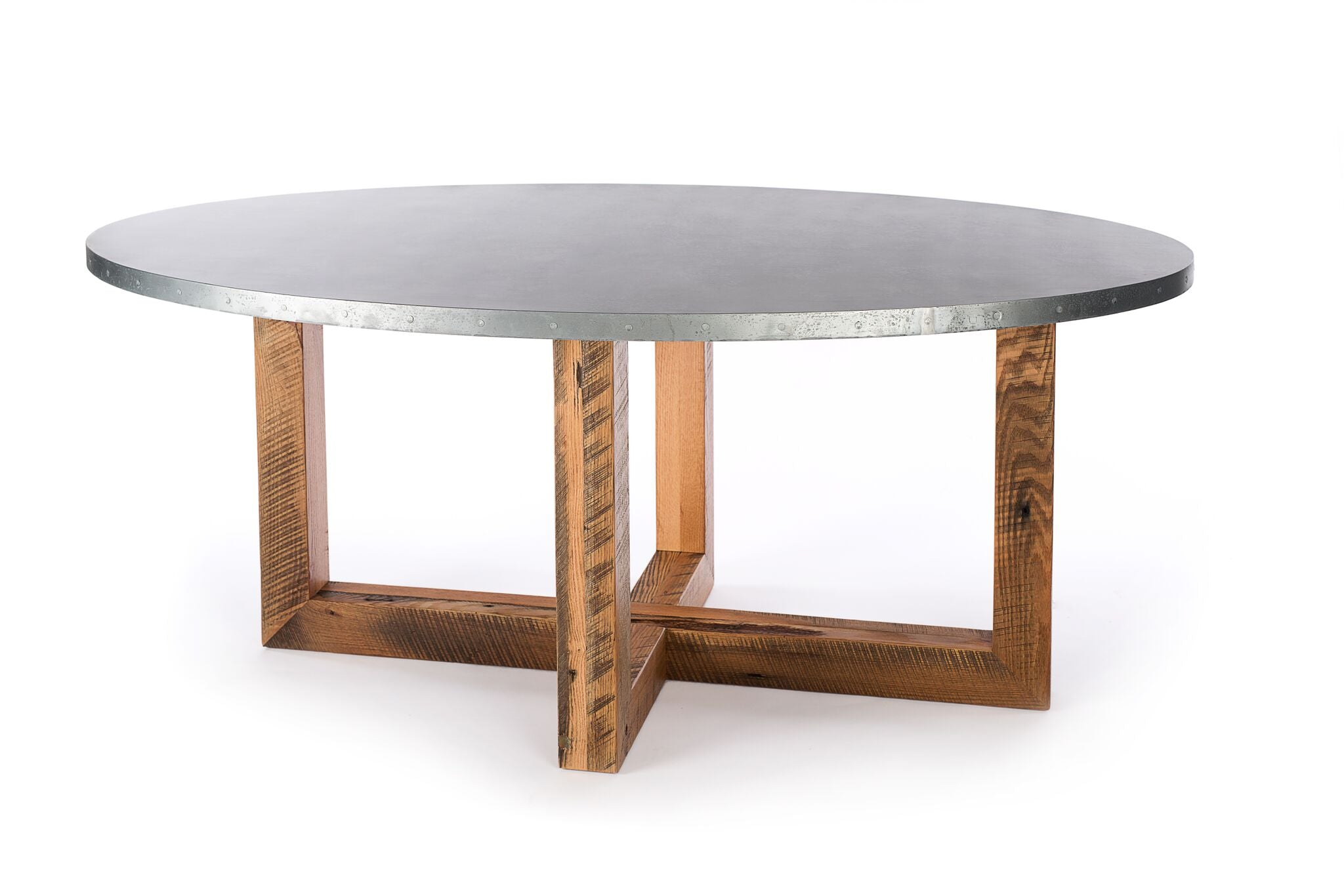"Zinc Oval Tables | Winston Table | CLASSIC | Natural Reclaimed Oak | CUSTOM SIZE L 72 W 39 H 30 | 1.5"" Standard 