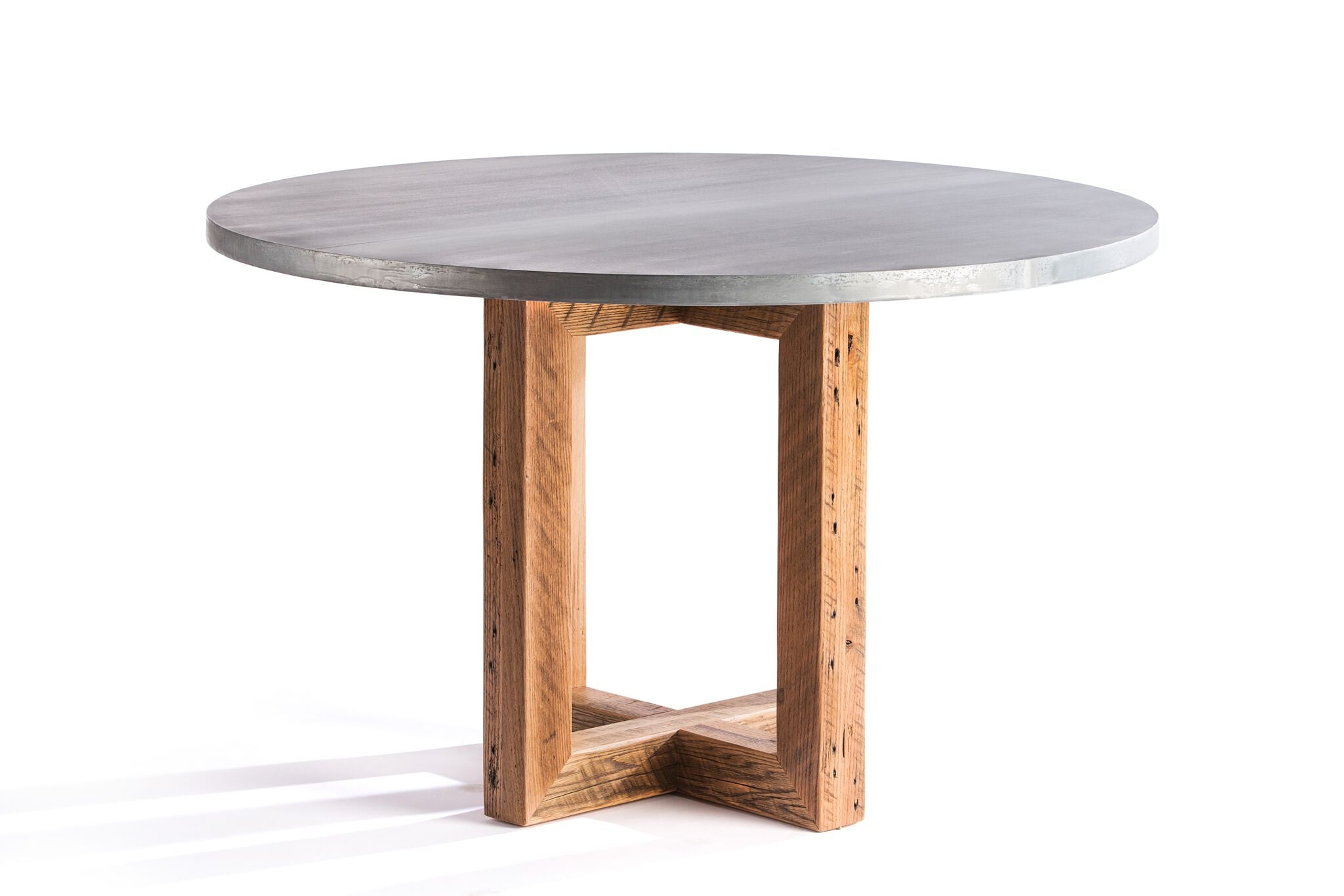"Zinc Round Tables | Winston Table | CLASSIC | Natural Reclaimed Oak | CUSTOM SIZE D 42 H 30 | 1.5"" Standard