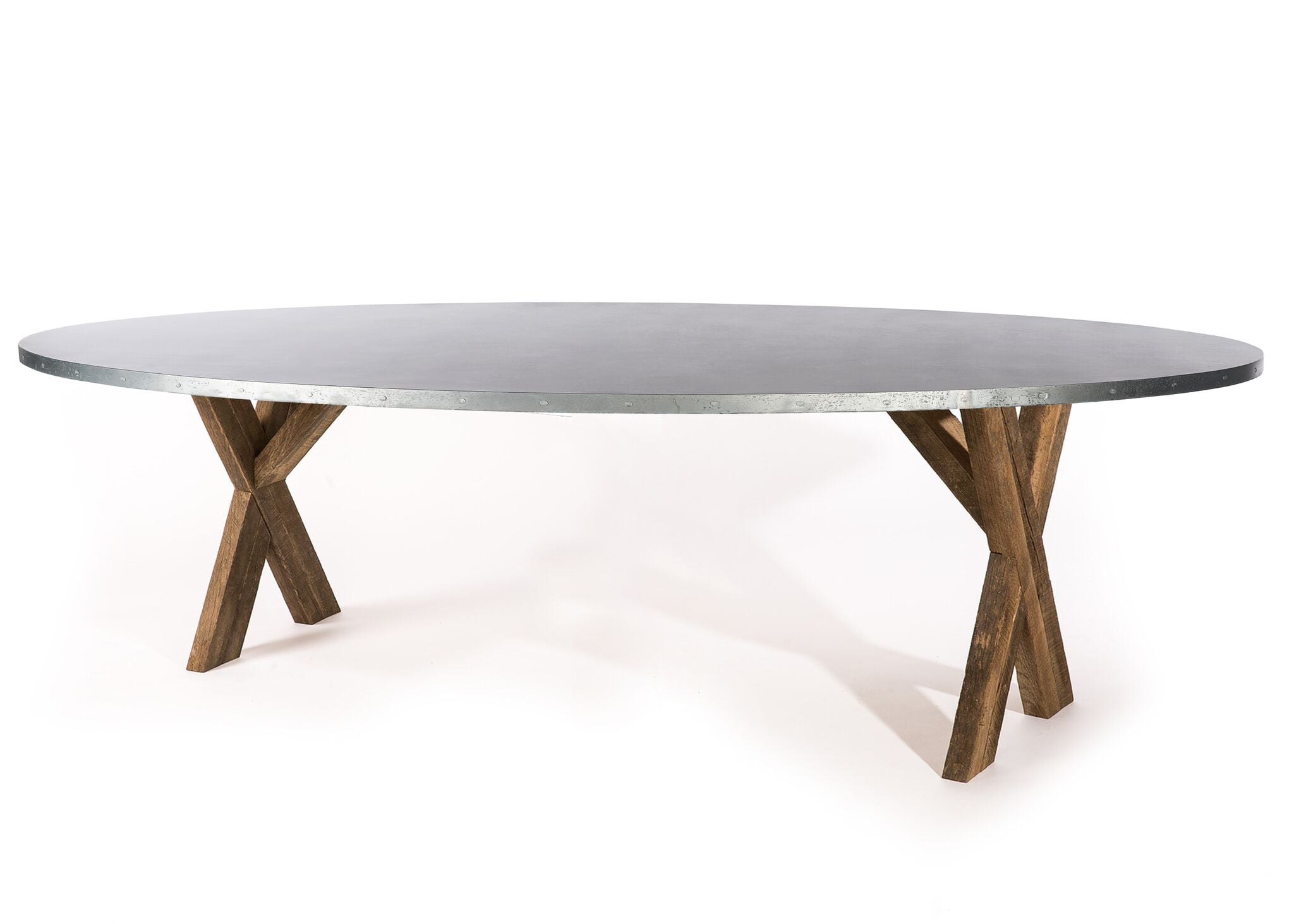 "Zinc Oval Tables | X Base Trestle Table | CLASSIC | Natural Reclaimed Oak | CUSTOM SIZE 60""L 37""W 30""H 