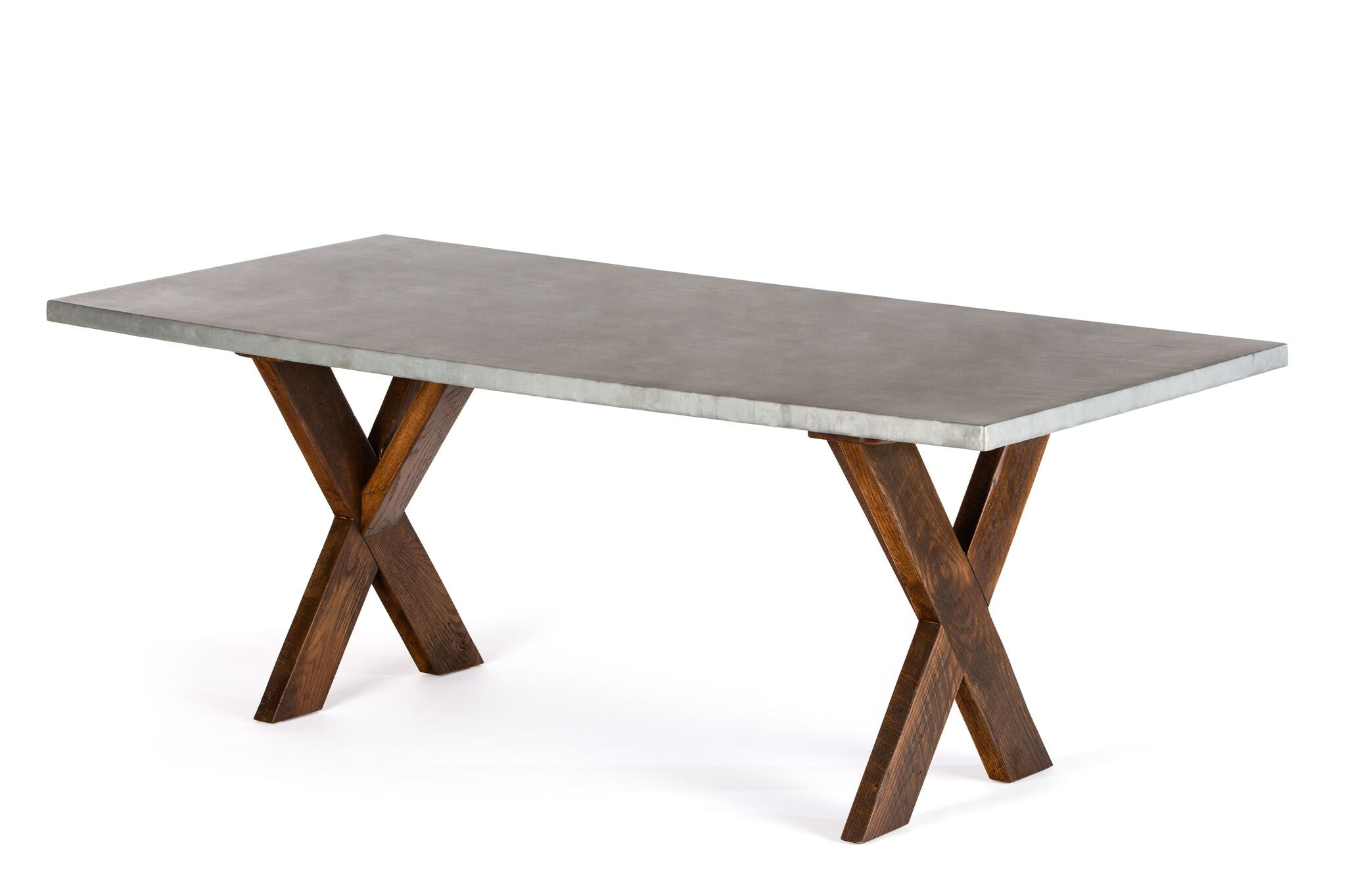 "Zinc Rectangular Table | X Base Trestle Table | CLASSIC | Dark Brown on Reclaimed Oak | CUSTOM SIZE 60""L 37""W 30""H 