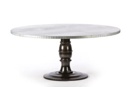 "Zinc Round Tables | Providence Table | CLASSIC | Natural Ash | CUSTOM SIZE D 42 H 30 | 1.75"" kingston-krafts-zinc-tables."