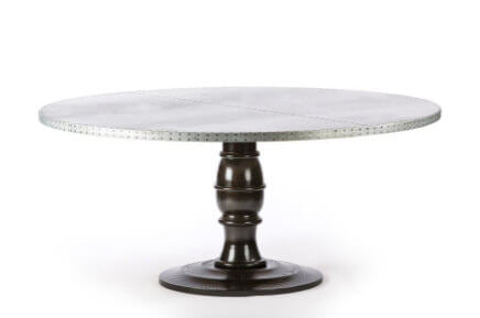 Zinc Round Tables | Providence Table | CLASSIC | Black | CUSTOM SIZE D 60 H 30  | 1.75"