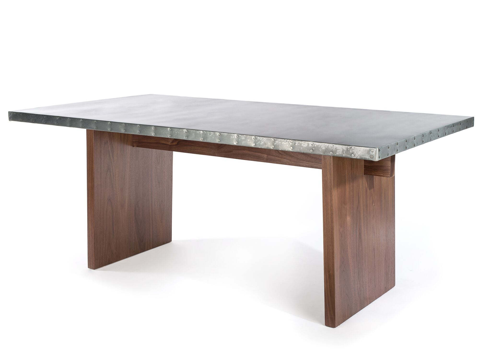 "Zinc Rectangular Table | Sonoma Trestle Table | CLASSIC | Dark Brown on Reclaimed Oak | CUSTOM SIZE 60""L 37""W 30""H 