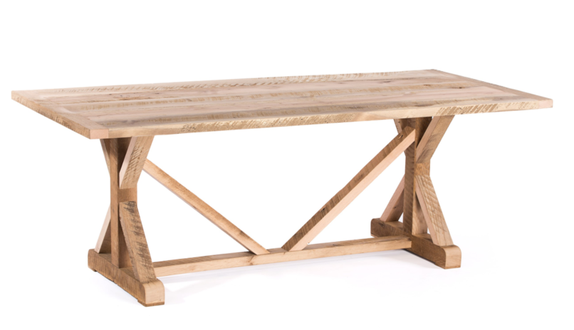 "Wood Tables | French Trestle Table | Natural Ash | White on Poplar | CUSTOM SIZE 60""L 37""W 30""H 