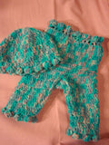 Custom Hand-Painted Wool Longie Soaker Diaper Cover with Matching Frilly Hat - Marshmallow 150