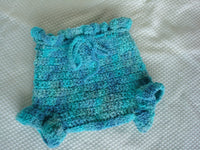 Beautiful Blues Hand Painted Wool Shortie Soakers, Diaper Cover, Unisex Medium - Bluebirds 409