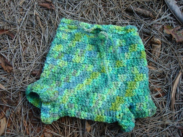 Shortie Soaker Diaper Cover Crocheted from Hand-Dyed Wool -  Medium - Lily Pad 445