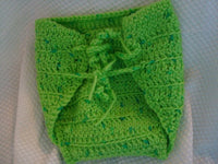 Custom Wrap Crocheted Wool Soaker Diaper Cover - Medium - Lime 90