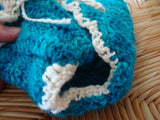 Hand-Stitched, Hand-Dyed Custom Design Wool Wrap Soaker Diaper Cover with Organic Cotton Trim - Medium - Turquoise 193