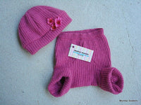 Baby Girl's Flower Hat and Soaker Set - Recycled Soft Lambs Wool - Mabel 584