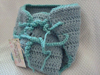 Thick Wool Custom Wrap Soakers Diaper Cover - Medium - Sea Mist 182