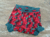Hand Painted Wool Shortie Soakers, Cloth Diaper Cover, Medium - Medium 6-12 months - Holiday 470