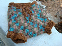 Thick, Hand Dyed Wool Shortie Soaker - Diaper Cover with Cotton Trim - Toddler Boys Large - Canyon 385