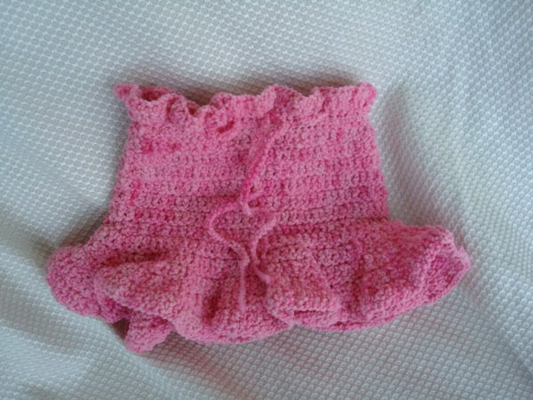 Soaker Skirt - Crocheted Toddler Girl's Hand-Painted Wool Diaper Cover - Just Pink 404