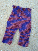 Hand Painted Merino Wool Crocheted Baby Girls Longie Soakers - Romance 677