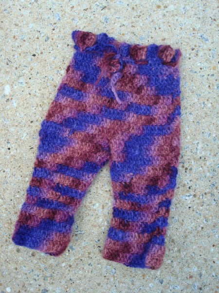 Hand Painted Merino Wool Crocheted Baby Girls Longie Soakers - 3-12 months - Romance 677
