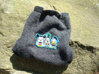 Upcycled Felted Lambs Wool Shortie Soaker in Charcoal Gray with Mickey Mouse Applique - Mickey 649