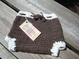 Undyed Baby's Wool Shortie Soaker Diaper Cover in Natural Brown - Bark 489