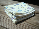 Organic Bamboo Ultra Soft Baby Print Set of Two Washcloths or Wipes - Pale Yellow Blocks 790