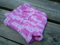 Newborn Baby Girls Crocheted Wool Shortie Soaker Diaper Cover - Bubblegum Ice Cream 816