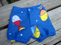 Fishy Fleece Cloth Diaper Cover or Shorts for Baby and Toddler Boys - Samaka 955